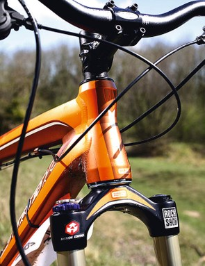 The E-2 headset is unique to Trek and increases stiffness