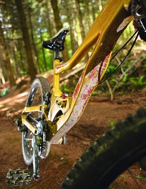 The wide, flat hydroformed down tube doubles as a crud catcher
