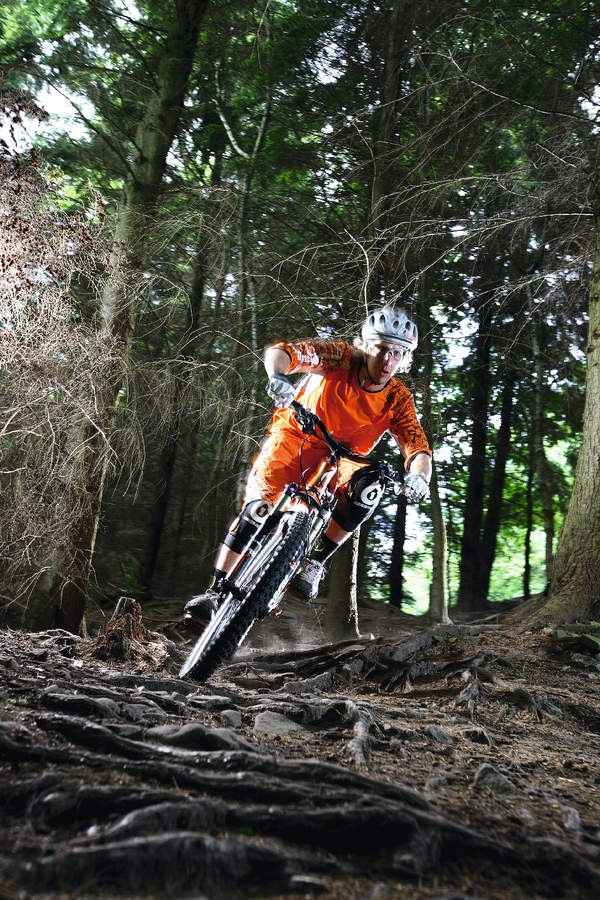 Attack the roots square on, andc ommit to riding in a direct line