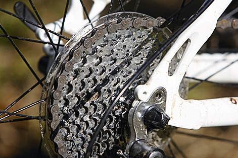 A 27-speed transmission makes room for a wall-climbing 34 tooth sprocket. Your legs will thank you