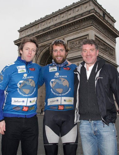 David Fox Pitt and Lindsay Whitelaw, two of Marks friends and sponsors at the finish at the Arc de Triomphe in Paris.
