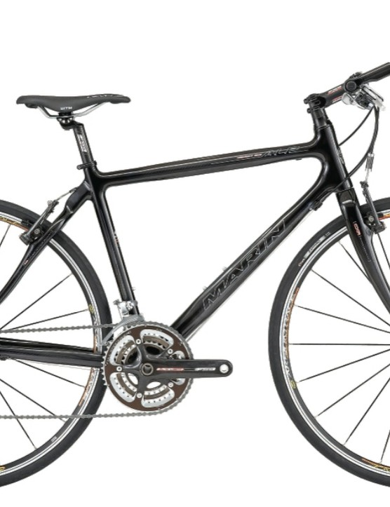 The Marin Highway One flat-bar road bike is specced with Shimano Dura-Ace, FSA carbon cranks and handlebar, carbon fork and Mavic Askium wheels.