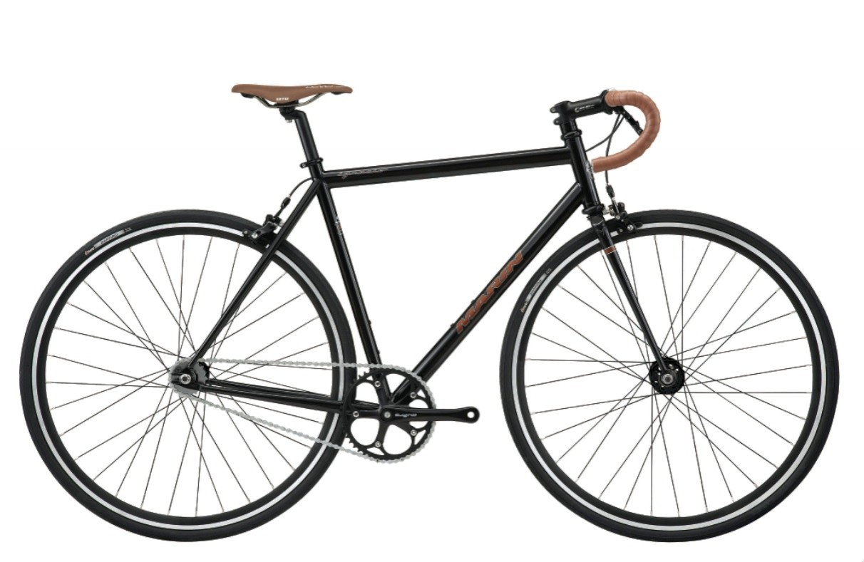 "The Marin Ignacio is a road fixie designed with 4130 cromoly steel frameset, high-flange flip-flop hub, Sugino cranks, leather saddle and matching ""fine Corinthian leather"" grips, and Nitto alloy track drop bars, Keirin-approved, natch."