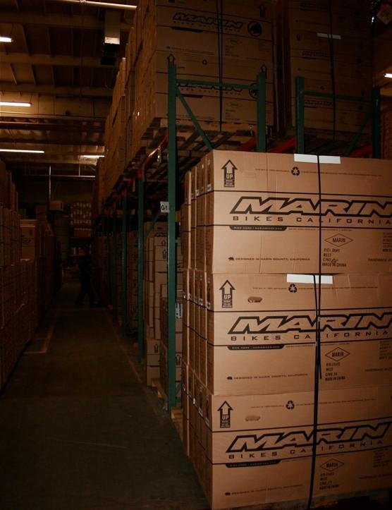 The Marin Bike warehouse at its Novato, California world headquarters resembles the final warehouse scene from