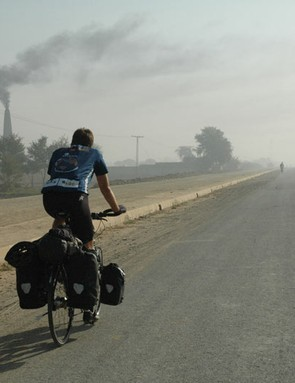 Riding out of Pakistan and into India near Lahore.