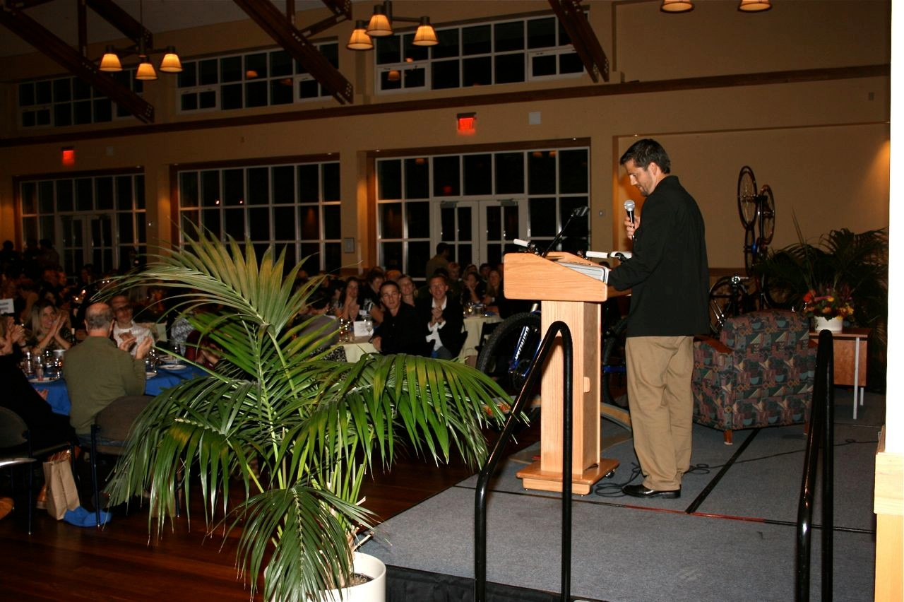 NorCal League founder and director Matt Fritzinger speaks during the 5th Annual CycleFest fundraising dinner November 8 in Mill Valley, California.