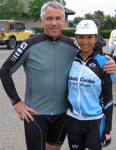 Greg LeMond with rider Cynthia Lou.