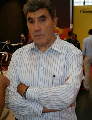 The true king of cycling, Eddy Merckx, looking fit and ready to pounce.