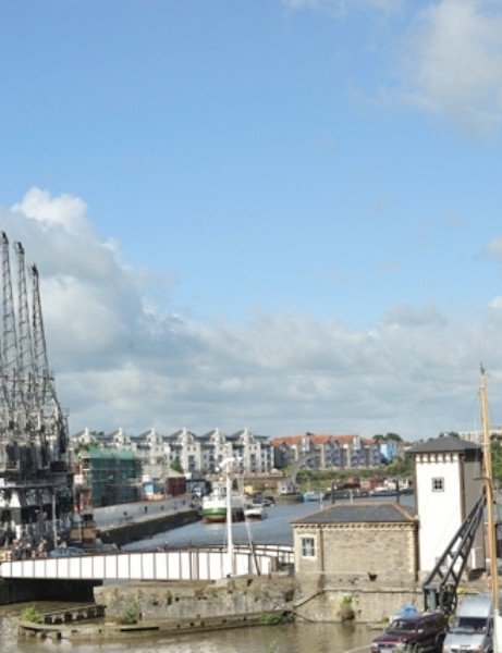 View over the Prince Street swing bridge and Bristol harbour