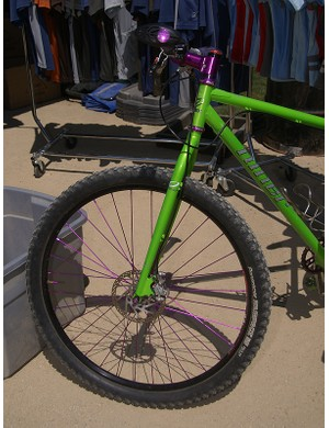 The folks at Niner seem to think so as this purple-and-green 29er was making the rounds at Sea Otter