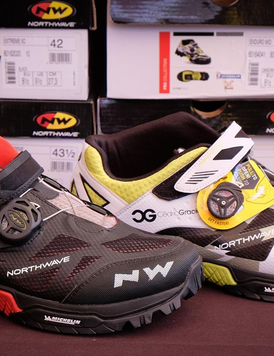 Northwave's Enduro Mid shoe, designed with input from racer and professional rabble rouser Cedric Gracia is now available. It features a proprietary dial system, similar to Boa, and a walkable sole with Michelin rubber
