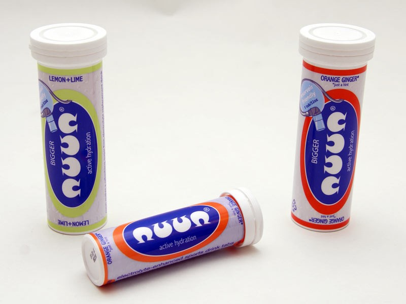 Nuun's tablets self-mix in water but cut out the carbohydrates for riders replacing electrolytes.