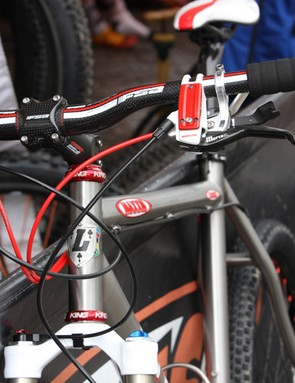Magura's new Marta SL Magnesium disc brakes and Stan's NoTubes coated aluminum rotors help bring the weight down.