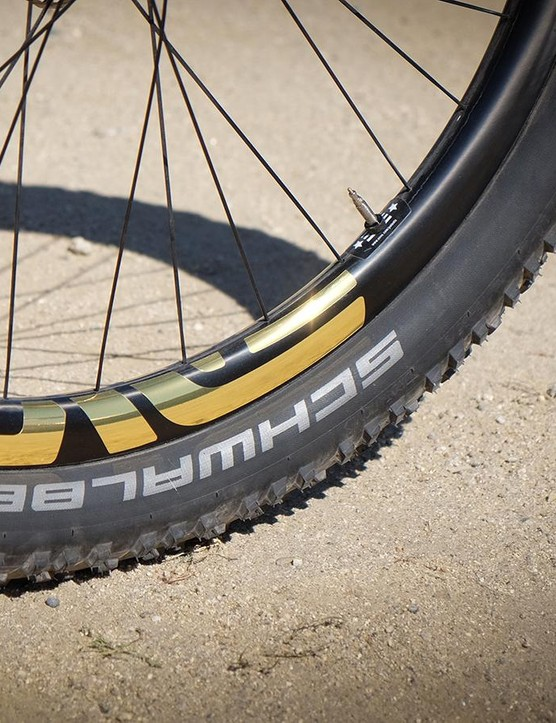 Gold logos on Enve M50 rims round out the One+ build