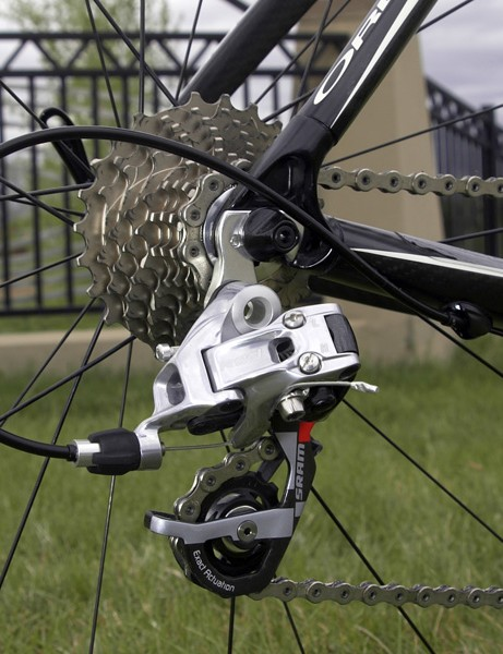 As usual, the SRAM Red rear derailleur rattled off dependable shifts though they're not quite as smooth as those of Campagnolo or Shimano.