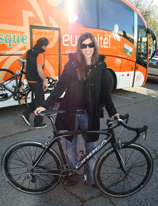 Orbea product development manager Miriam Bengoetxea stands proudly with her new creation.