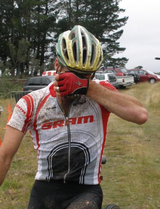 Sid Taberlay wipes away the mud