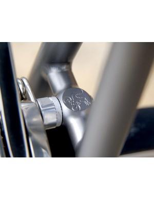 The Moots symbol on the brake bridge