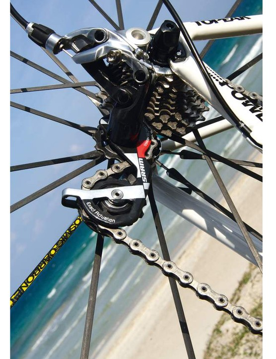 SRAM pride themselves on the precise, even gear changes achieved with their Red rear derailleur