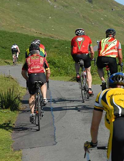Riders were still bunched on the first major climb