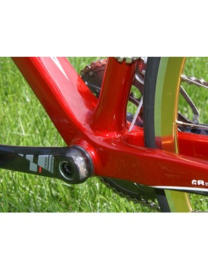 Press-fit bottom bracket cups leave more real estate for a wider down tube and more widely-spaced chain stays.