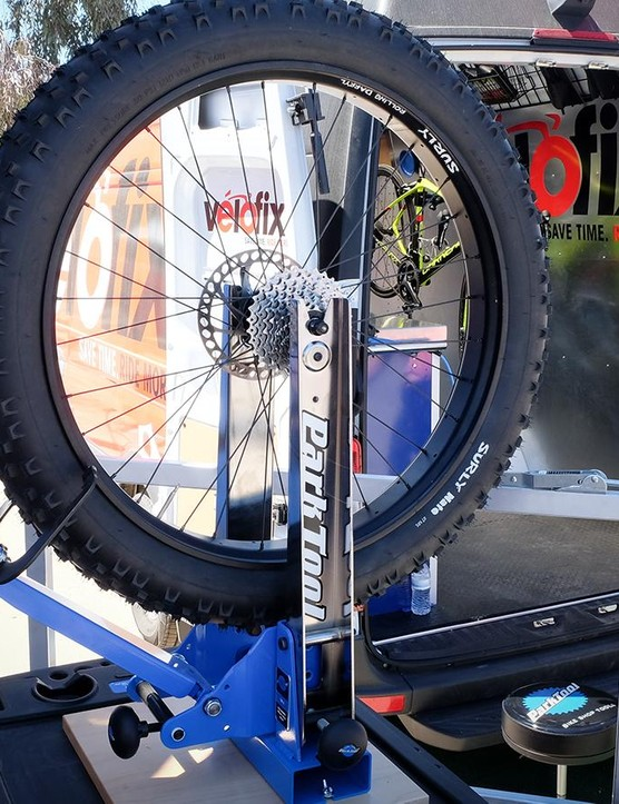Park's new TS-4 is a pro-level truing stand that is able to work with any rim width or axle standard the industry has dreamed up to date