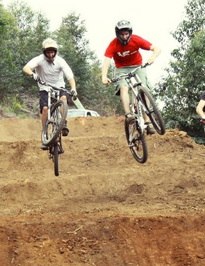 Pietermaritzburg youngsters try out the new 4X course that was recently completed and which will be used for the first round of the 2009 Nissan UCI World Cup next April.