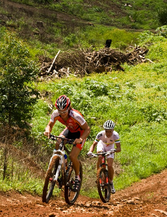 South African Junior Men's XC Champion, Rourke Croeser (front) and South African Elite Men's XC Champion, Brandon Stewart, tackle one of the steep climbs on the XC course.