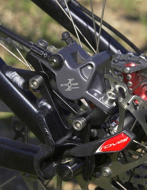 Compared with earlier Hayes brakes, the Stroker features larger pads for less heat build-up and more power