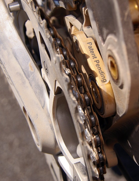 The front derailleur mounts to a plate	that virtually guarantees that you can never drop your chain to the inside.