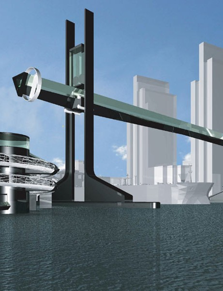 The bridge would raise vertically to allow river traffic to pass