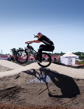 Martin Soderstrom was practicing his smooth moves in preparation for Sea Otter's annual Pump Track Invitational race. Practice makes perfect, as he rode away with the win