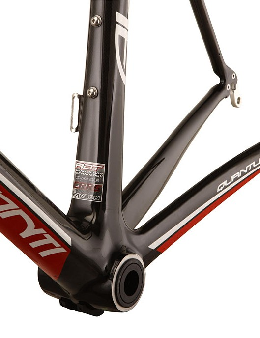 With an 86mm wide bottom bracket shell and asymmetric stays the Quantum frame is beefy