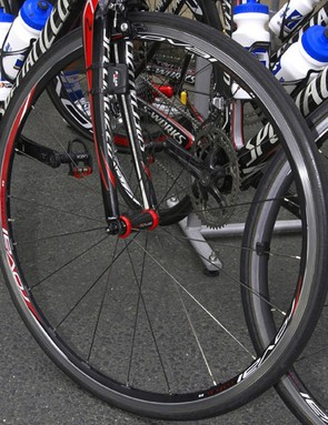 Devolder's front wheel is a tubular version of Specialized's new alloy wheel for 2009