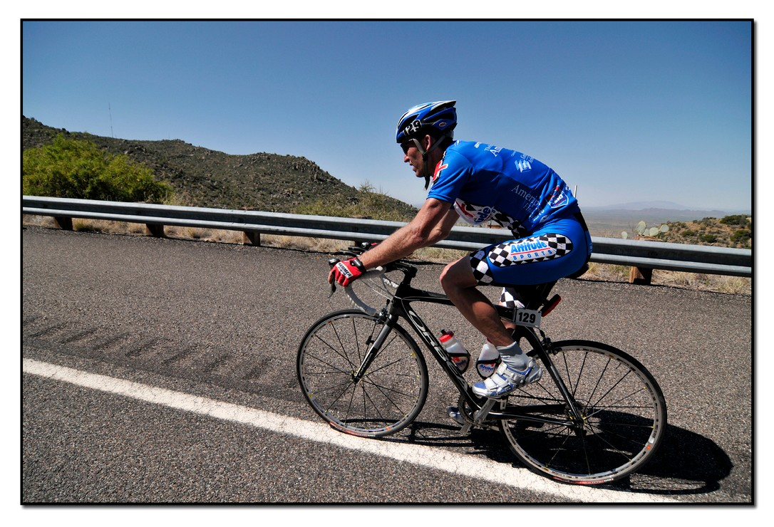 A solo rider keeping the pace in 2008.