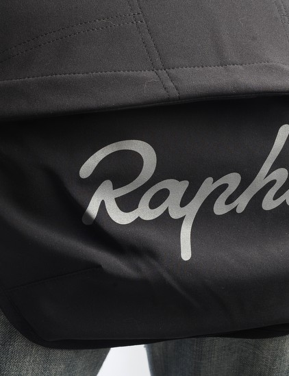 A drop-down tail with a reflective Rapha logo	is on tap when things get wet.