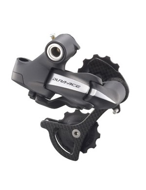 Save for the big bulge at the rear, the 7970 rear derailleur looks surprisingly similar to the standard mechanical unit.