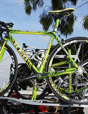 The rest of Rock Racing's crew departed for Stage 1 on these hot looking DeRosa King 3 rigs.