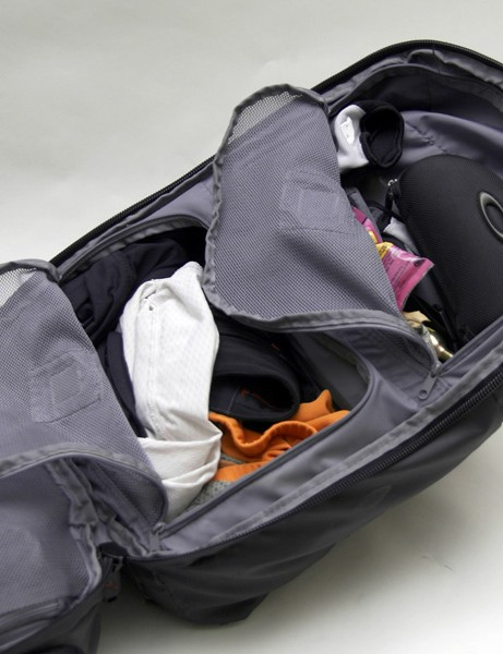 …while the two front compartments easily hold plenty of shoes and clothing.