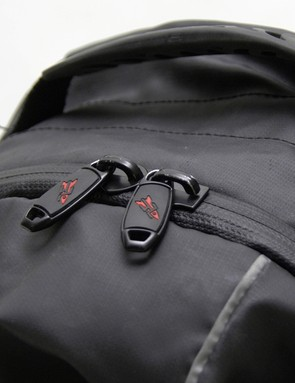 The water resistant shell is augmented by water resistant zippers.