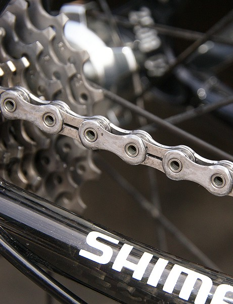 The prototype Dura-Ace 7900 chain looks lighter with its hollow pins and relieved inner plates.