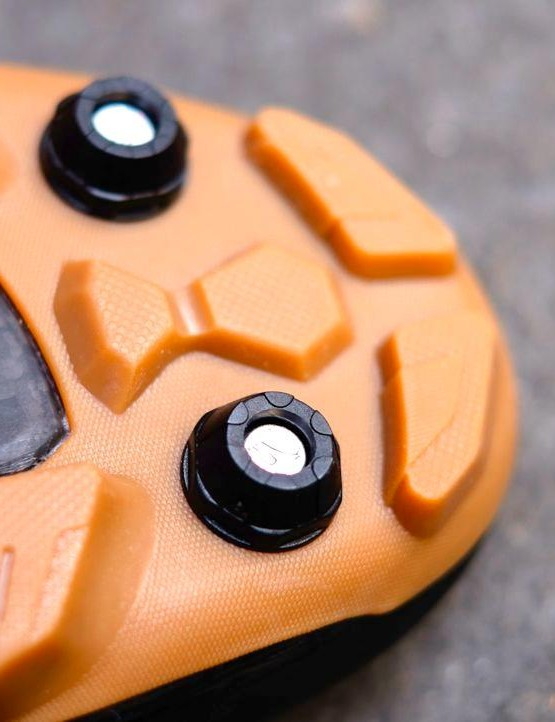 Replaceable toe studs boost grip when scrambling up hills
