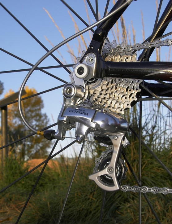 The Shimano Ultegra rear derailleur knocked off reliable shifts and you won't get too upset if you destroy it casing a barrier