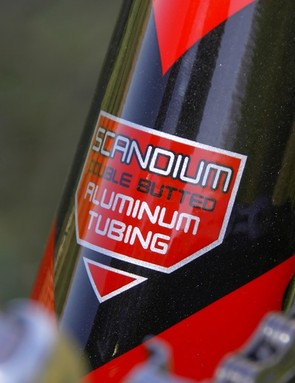 The double-butted scandium frame isn't as light as we had hoped at 1540g (52cm) but it should be rigid enough for even the strongest riders
