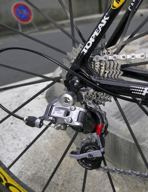 More Red componentry can be found at the rear derailleur…