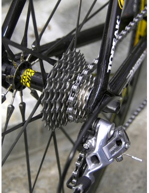 …although Riccò continues to use a Dura-Ace cassette and chain for as-yet-unconfirmed reasons.