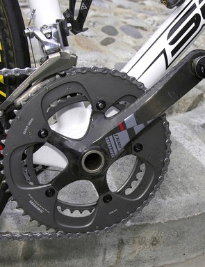 The solid outer skin on the large chainring helps improve stiffness relative to most conventional cut-out designs.