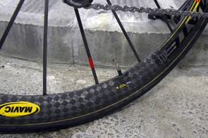 The carbon spokes are attached directly to the offset rim…