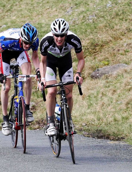 Rob Jebb and James Dobbin battle it out on Hardknott Pass
