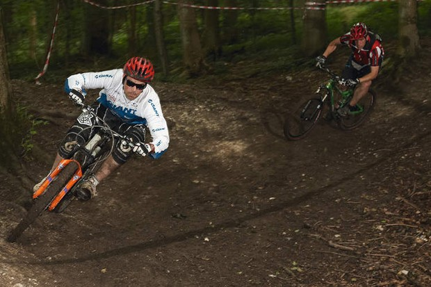 Rob Warner hammering the trail at Aston Hill